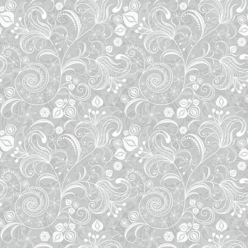 无缝花卉灰色的模式 皇族释放例证
