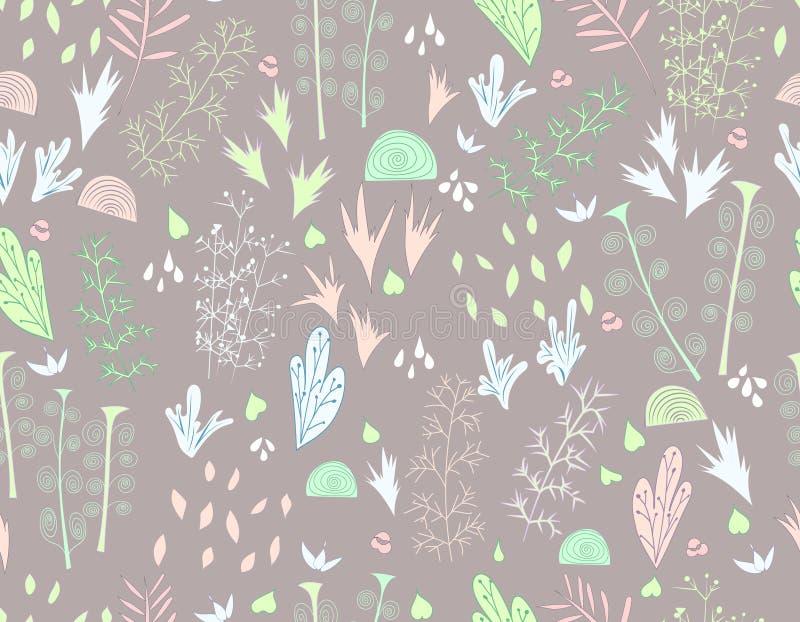 无缝花卉的模式 与意想不到的花的平的简单的装饰品在灰色背景 向量例证