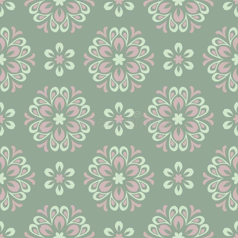 无缝花卉的模式 与淡粉红的花元素的橄榄绿背景 向量例证