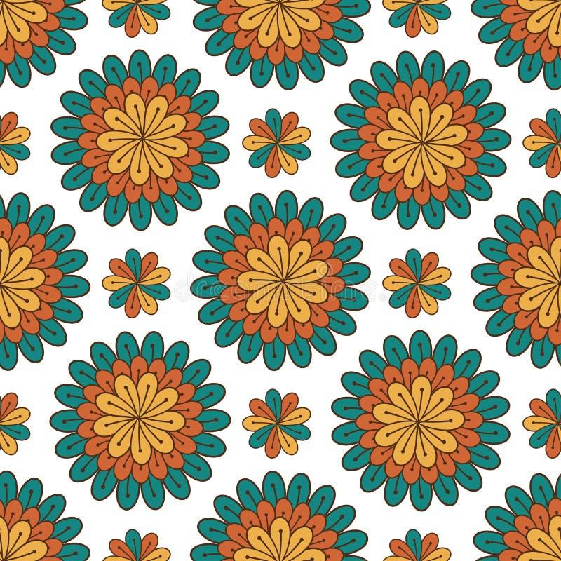 无缝花卉的模式 与花的现代传染媒介背景 纺织品印刷品或成套设计 向量例证