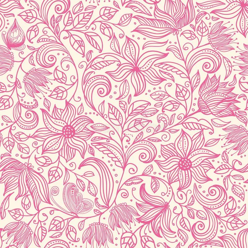 无缝花卉的模式 与葡萄酒夏天花的五颜六色的背景墙纸例证离开和装饰品 传染媒介textu 向量例证