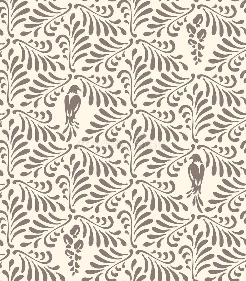 无缝花卉的模式 与风格化叶子,鸟,花的装饰品 向量例证