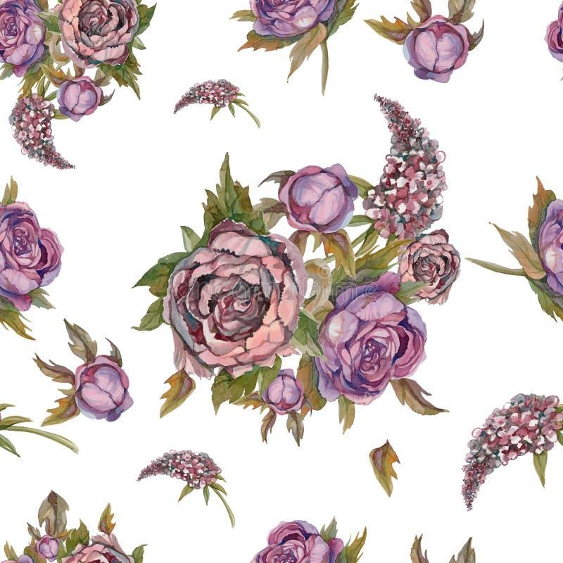 无缝花卉的模式 作者开花i绘画照片水彩 玫瑰,牡丹,丁香 花古老花束  3花束重点前景婚礼 淡色 库存例证