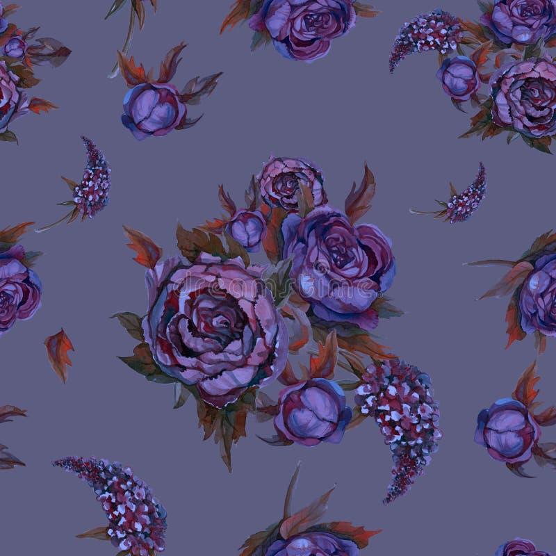 无缝花卉的模式 作者开花i绘画照片水彩 玫瑰,牡丹,丁香 葡萄酒紫色蓝色花花束 3花束重点前景婚礼 淡色 库存例证