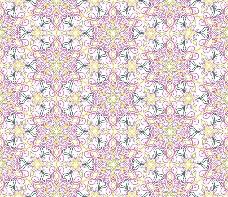 无缝花卉的模式 华丽铺磁砖了东方种族backgrou 向量例证