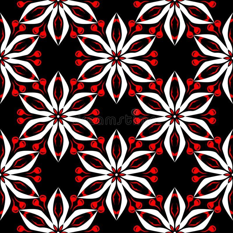 无缝花卉的模式 墙纸、纺织品和织品的黑红色和白色背景 库存例证
