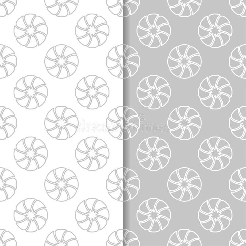 无缝花卉的模式 套浅灰色的垂直的墙纸背景 库存例证