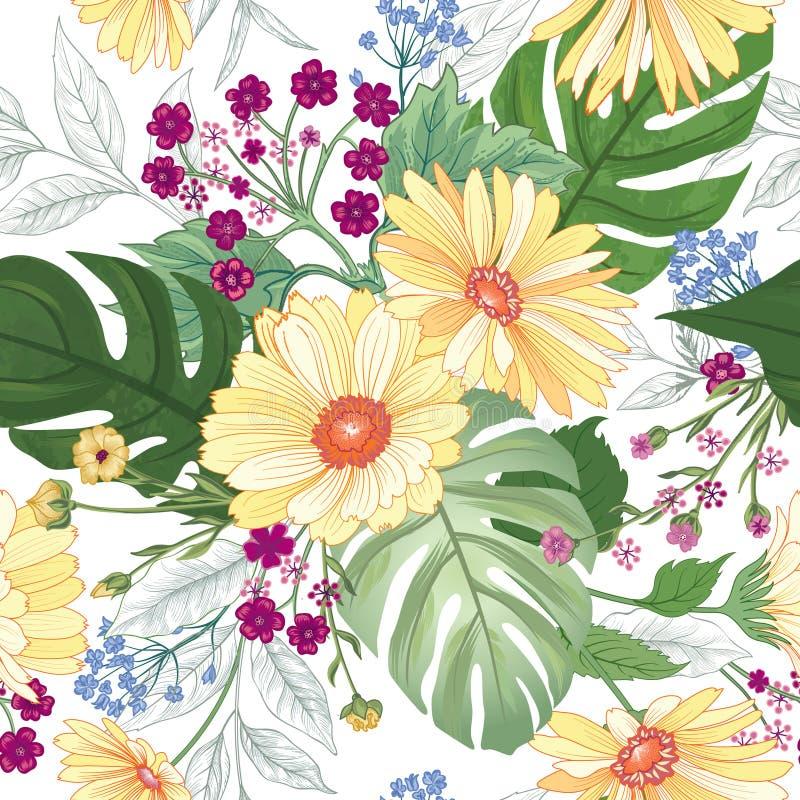 无缝花卉的模式 庭院花夏天背景 向量例证
