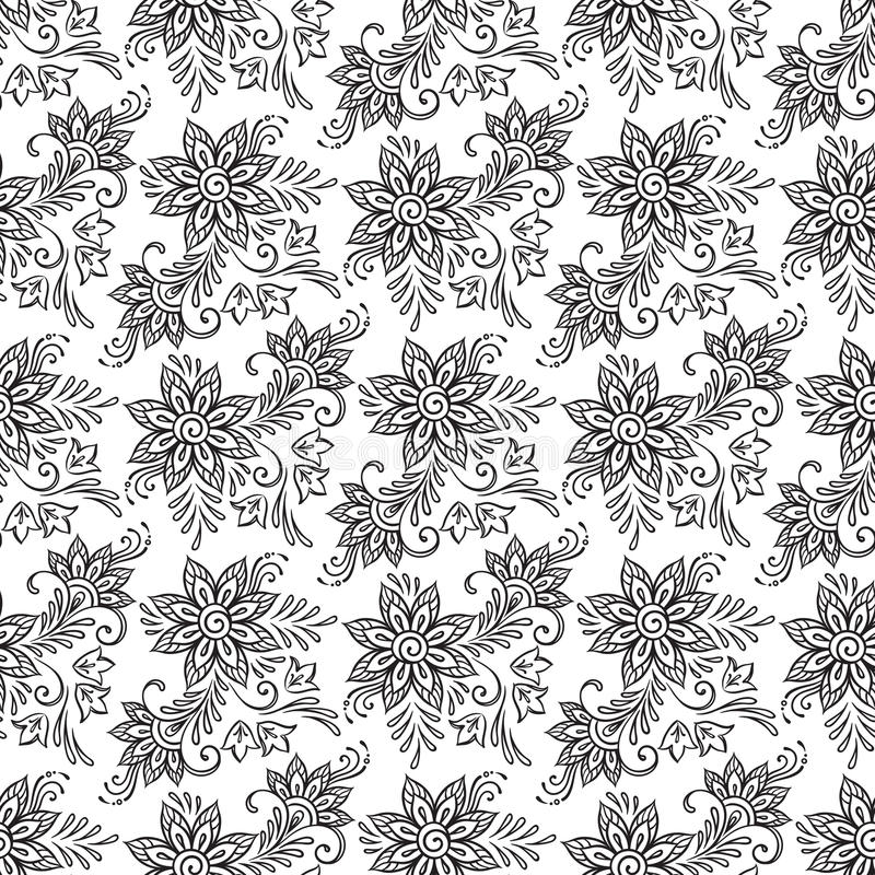 无缝花卉的模式 彩图呼叫传染媒介例证 库存例证