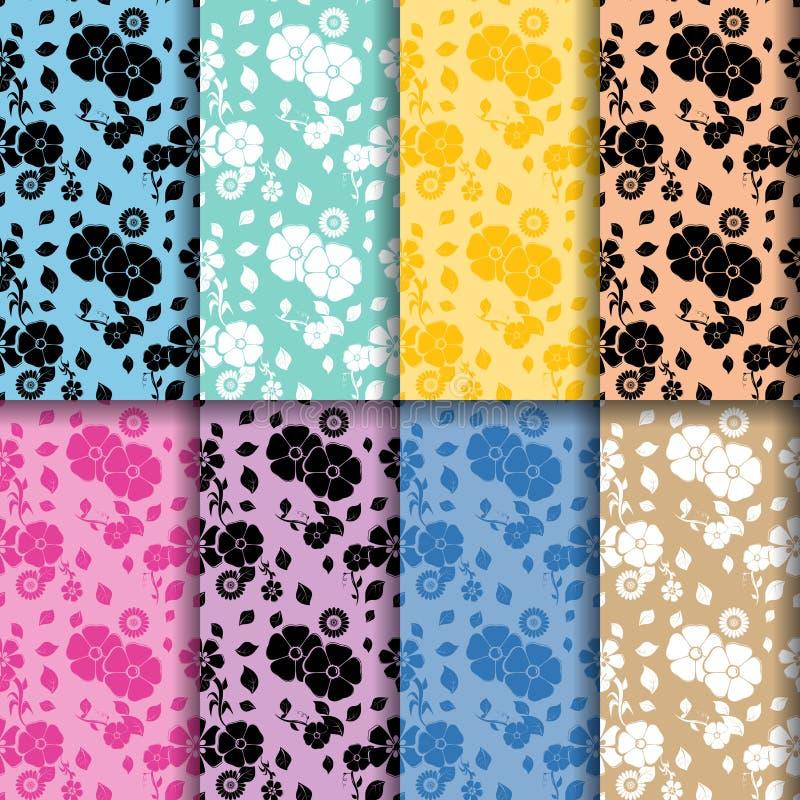无缝花卉的模式 彩色组 库存例证