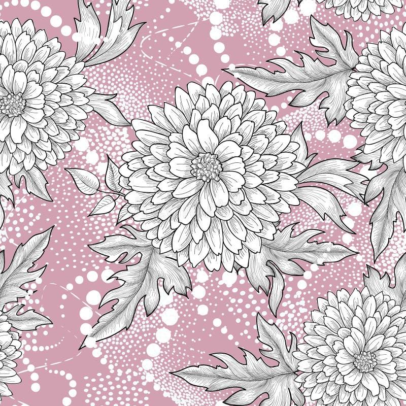 无缝花卉的模式 抽象装饰花背景 库存例证