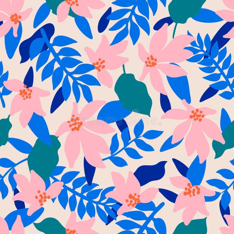 无缝花卉的模式 时尚与装饰热带叶子和珊瑚花的纺织品样式在蓝色背景 向量例证
