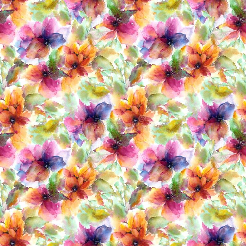 无缝花卉的模式 水彩开花背景 五颜六色的花 向量例证