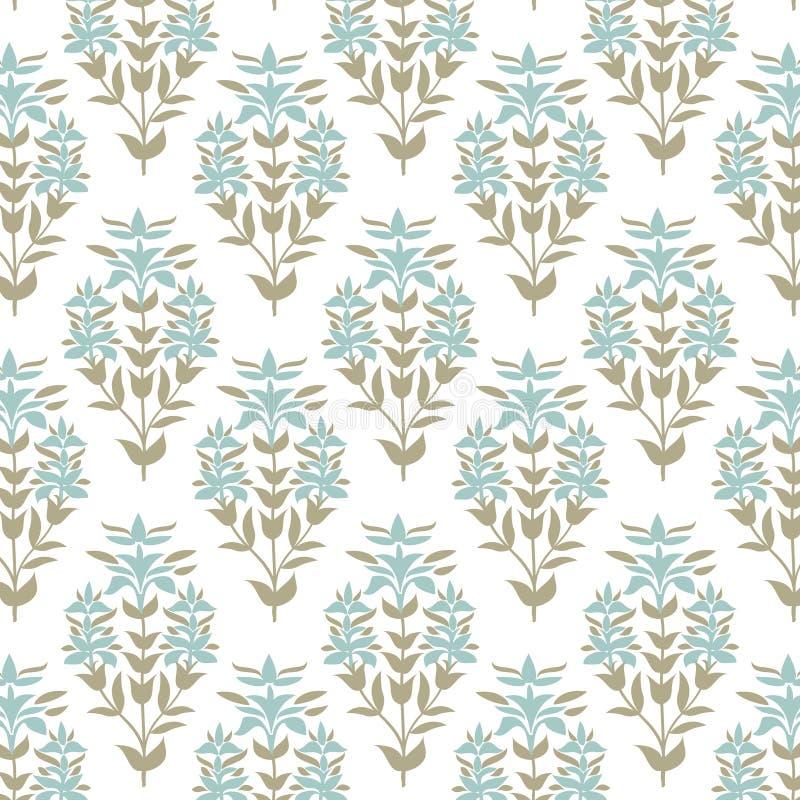 无缝花卉的模式 淡色锦缎花背景 瓦片包装纸纹理 手拉的向量例证 向量例证