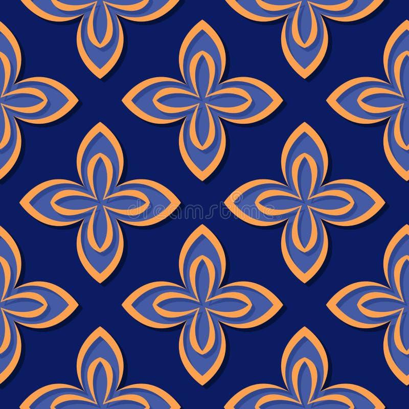 无缝花卉的模式 深刻的蓝色和橙色3d设计 向量例证