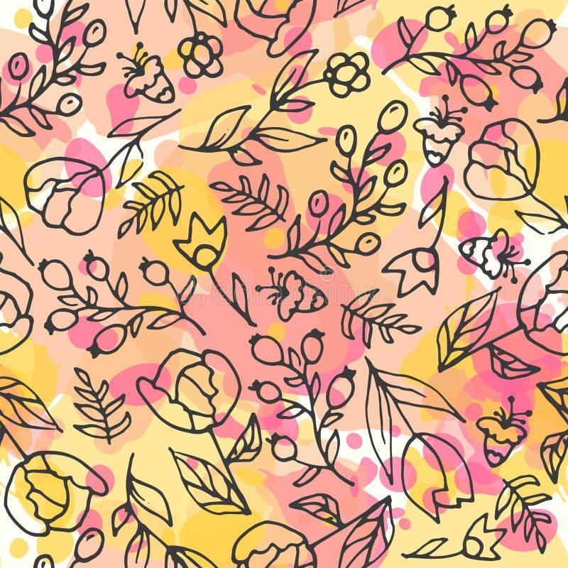 无缝花卉的模式 清凉茶和野花 皇族释放例证
