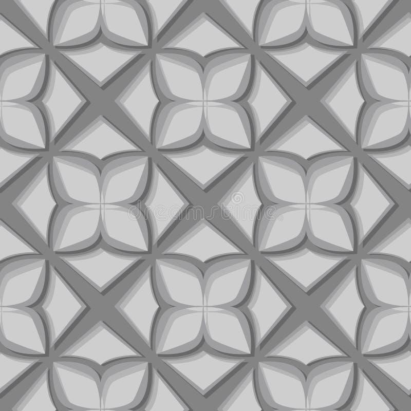 无缝花卉的模式 灰色3d设计 库存例证