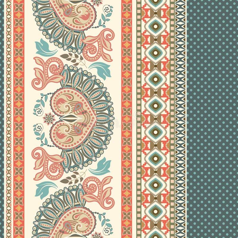 无缝花卉的模式 种族边界装饰品 埃及,希腊,罗马风格 库存例证