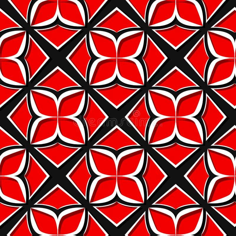 无缝花卉的模式 红色和黑3d设计 向量例证