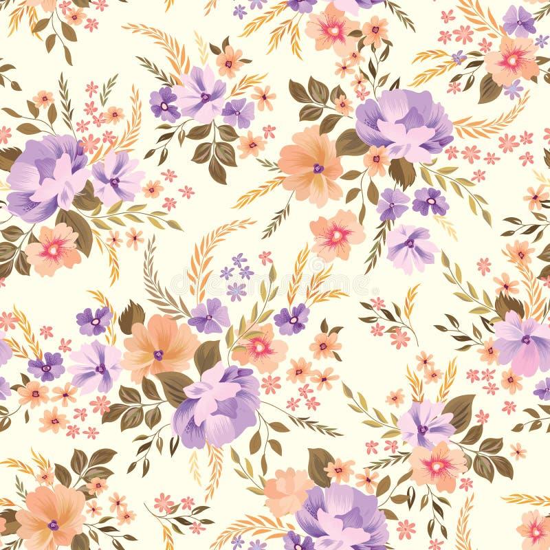 无缝花卉的模式 背景花光playnig 装饰庭院 库存例证