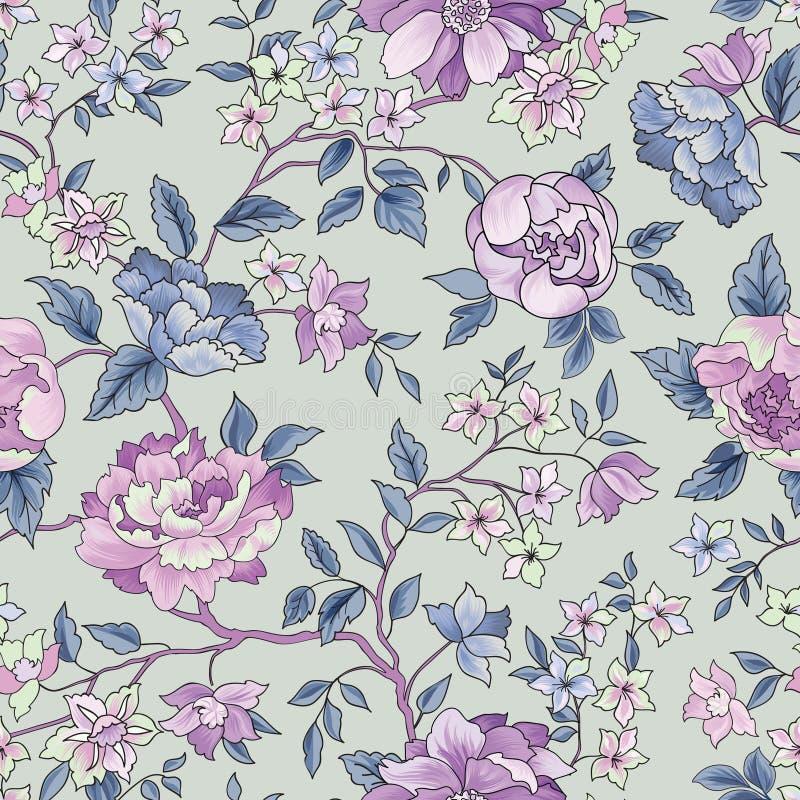 无缝花卉的模式 背景花光playnig 装饰庭院fl 库存例证