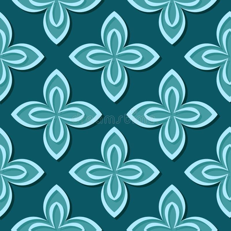 无缝花卉的模式 蓝绿色3d设计 向量例证