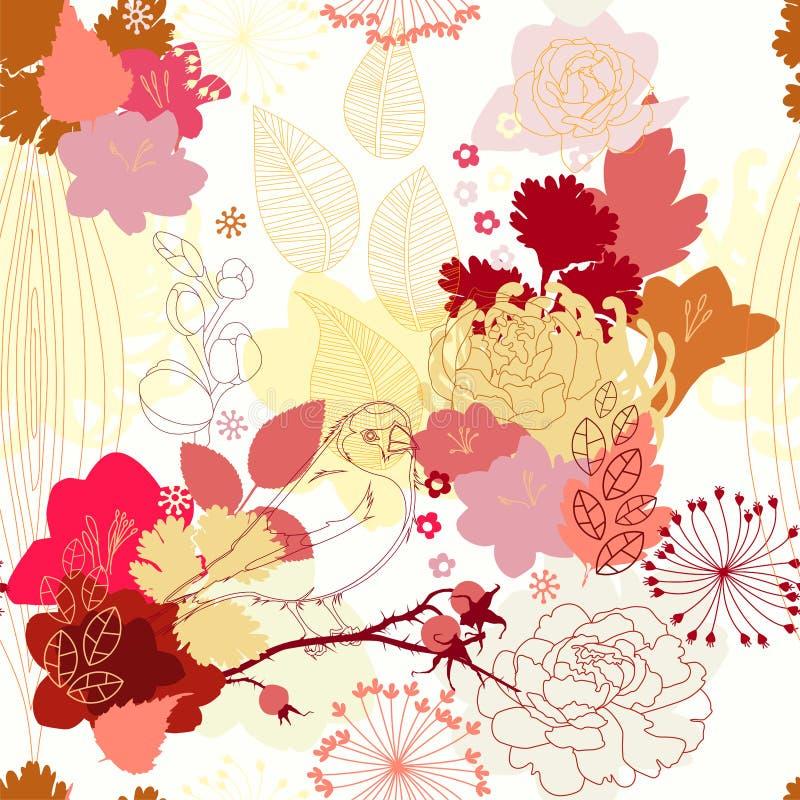 无缝花卉的模式 库存例证