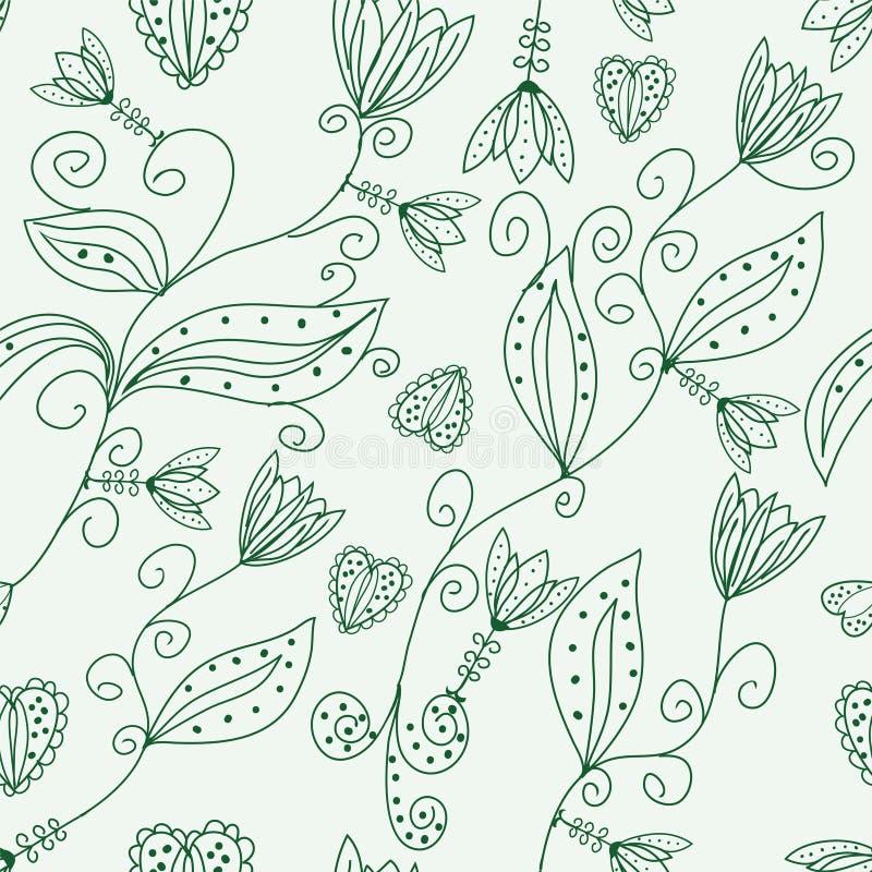 无缝花卉绿色的模式 库存例证