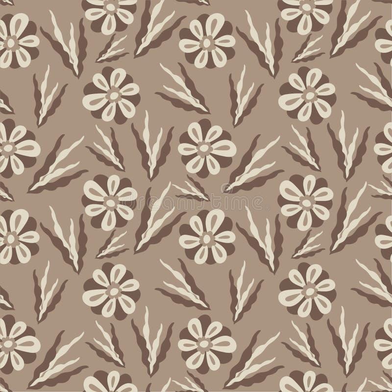 无缝花纹 具有极简元素的平面植物装饰品 简单矢量 复古柔和的高贵色彩 皇族释放例证