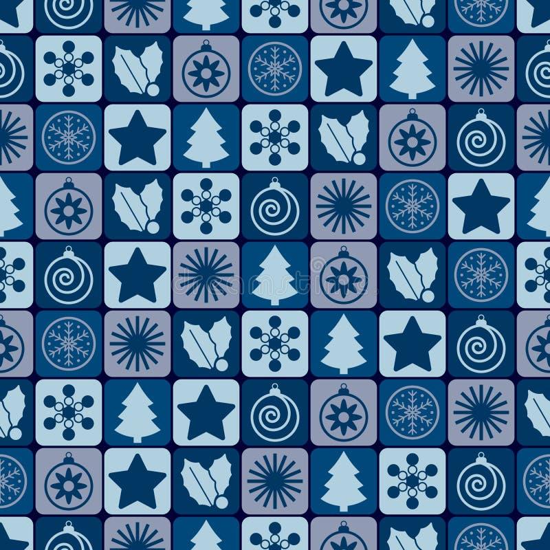无缝蓝色圣诞节的模式 向量例证