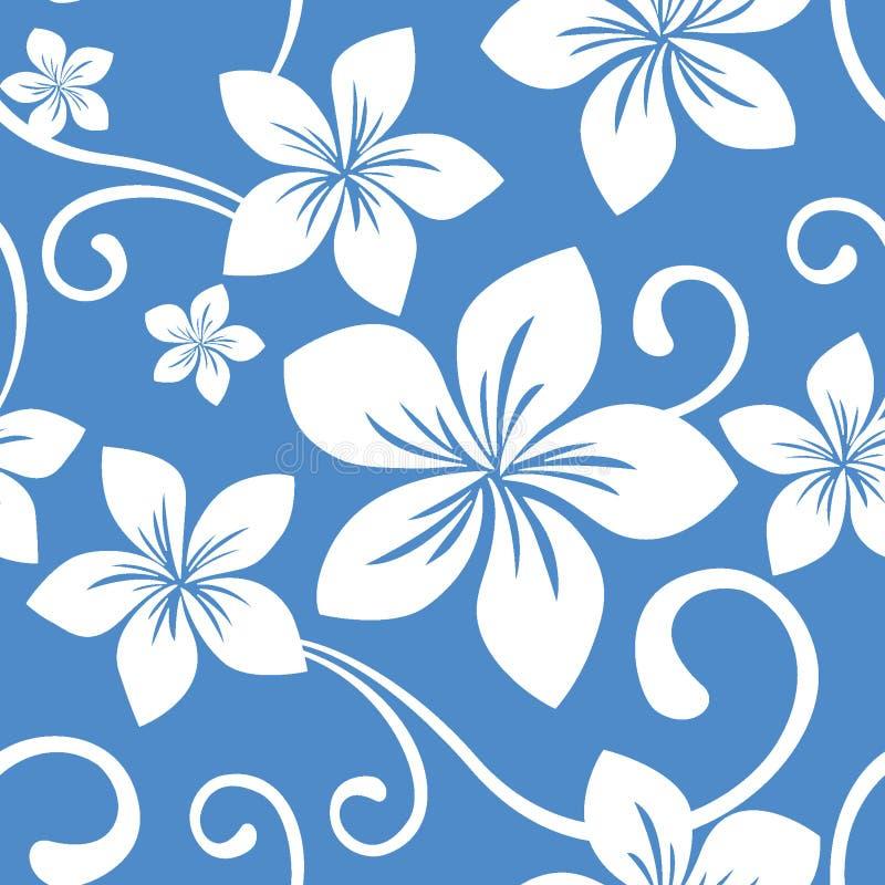 无缝蓝色夏威夷的模式 向量例证