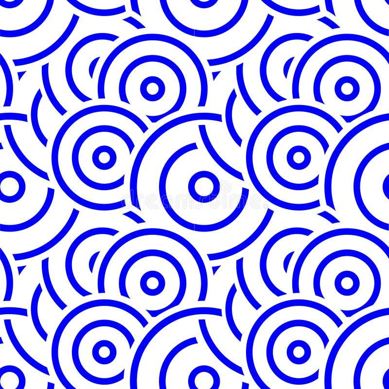 无缝蓝色抽象圈子的样式 库存例证