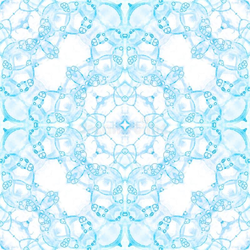无缝蓝色的模式 艺术性的精美肥皂bubb 免版税库存照片
