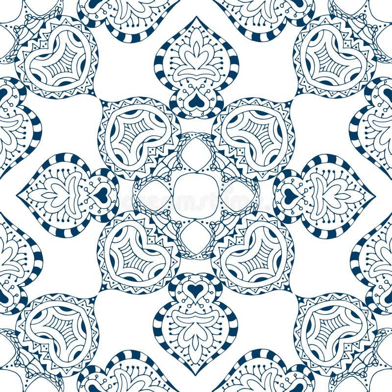 Download 无缝蓝色的模式 向量例证. 插画 包括有 装饰, 图象, 东方, 花卉, 方式, 例证, 德尔福特, 卷曲 - 59103651