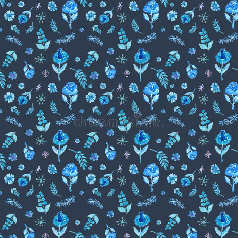 无缝蓝色的花纹花样 皇族释放例证
