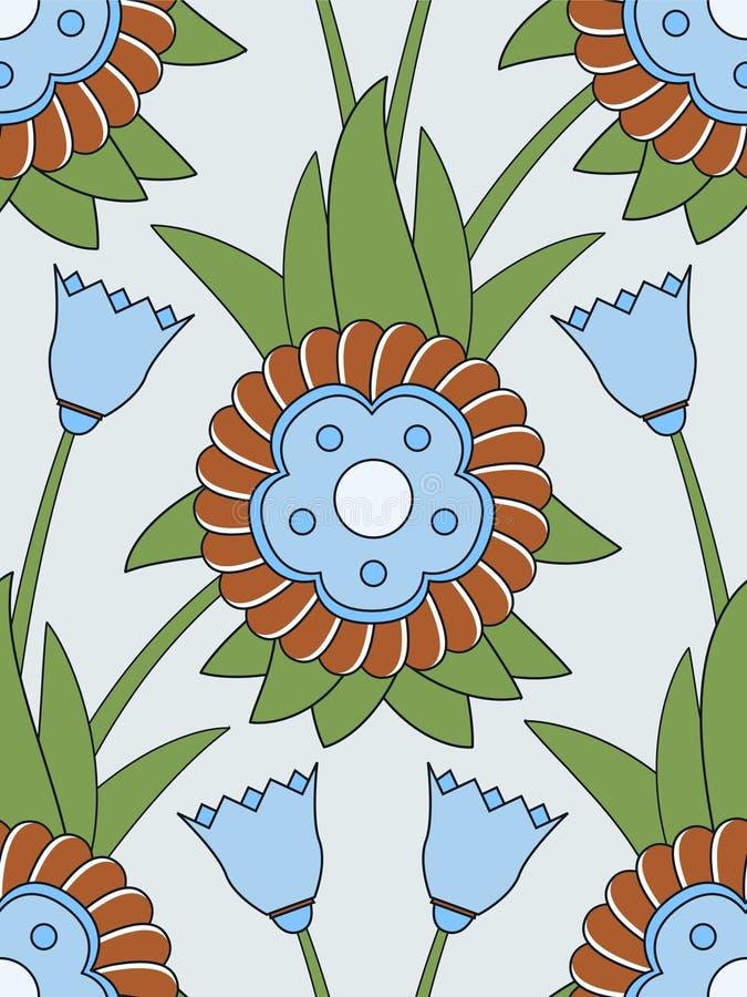 无缝蓝色的花纹花样 向量例证