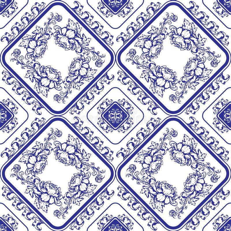 无缝蓝色花卉的模式 仿照汉语样式的背景 库存例证