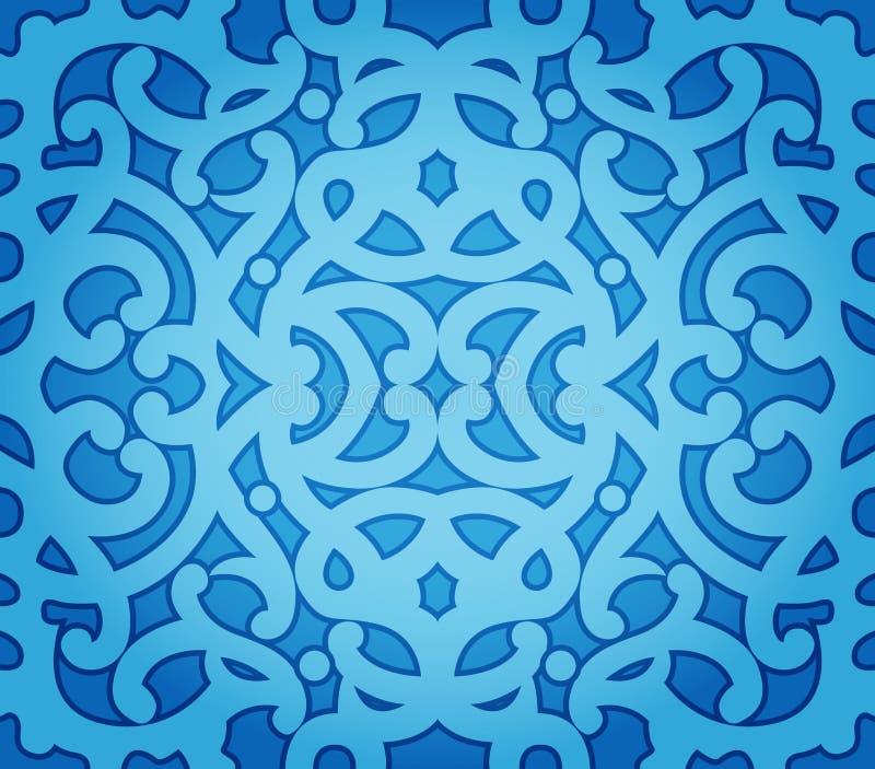 无缝蓝色花卉的模式 库存例证