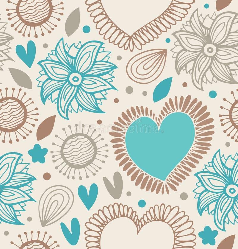 无缝装饰花卉的模式 与心脏和花的乱画背景 向量例证