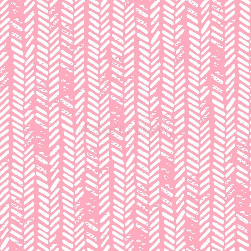 无缝逗人喜爱的模式 桃红色和白色颜色 Grunge纹理 Kn 皇族释放例证