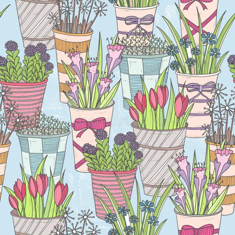 无缝逗人喜爱的花卉的模式 与花的样式在桶 库存例证