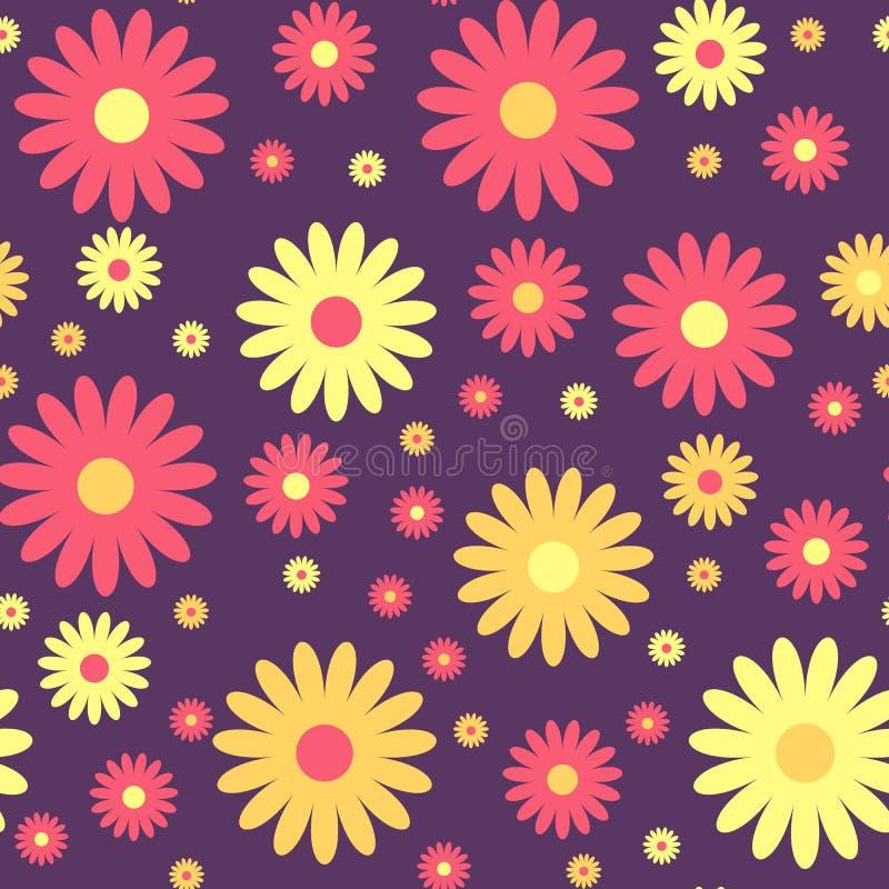 无缝逗人喜爱的花卉的模式 向量背景 向量例证