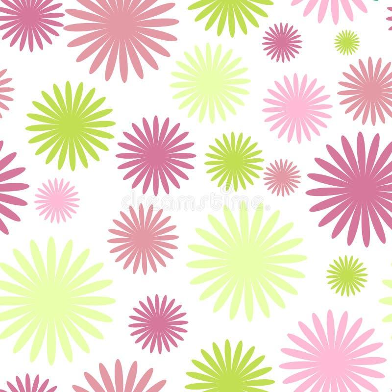 无缝逗人喜爱的花卉的模式 向量背景 库存例证