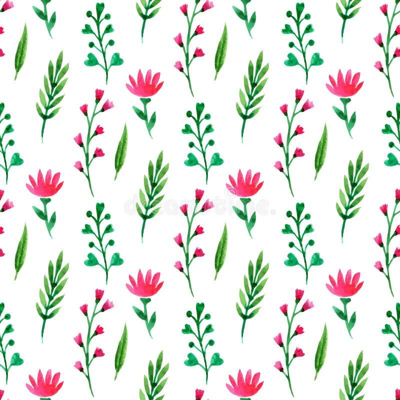 无缝逗人喜爱的花卉的模式 夏天开花,分支和叶子 导航水彩绘画,墙纸的,包装,纺织品 向量例证