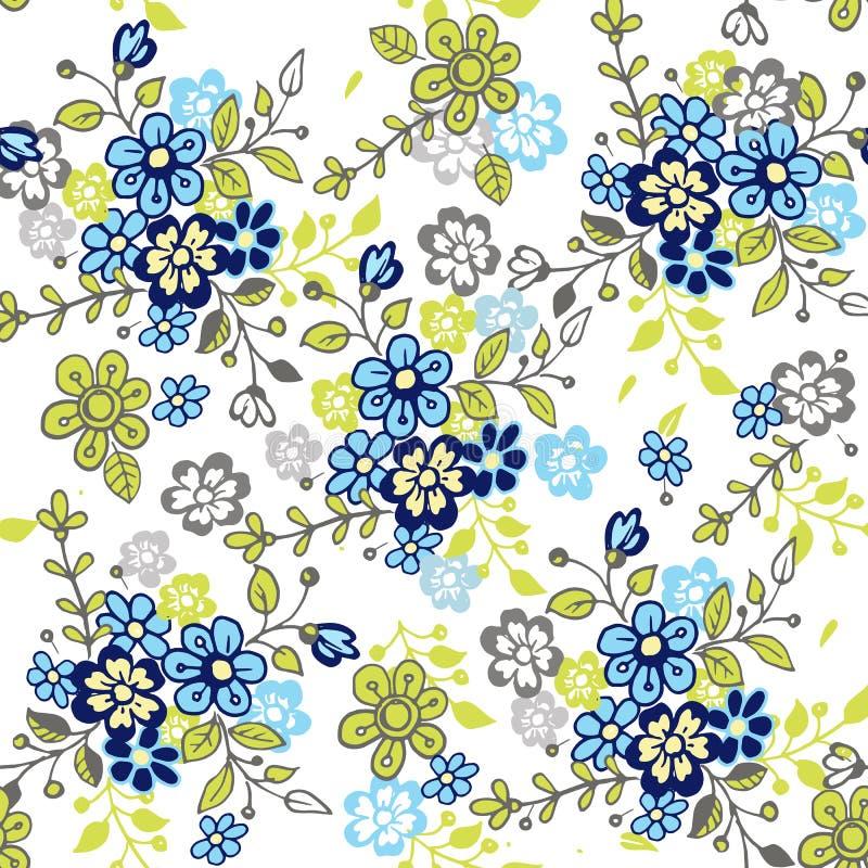无缝逗人喜爱的花卉的模式 手拉的风格化小的花无缝的样式 织品的,纺织品五颜六色的背景 皇族释放例证