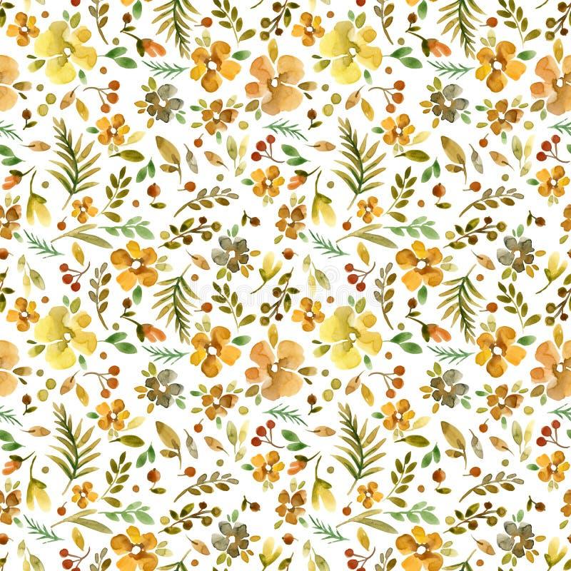 无缝逗人喜爱的花卉的模式 Millefleur背景 向量例证
