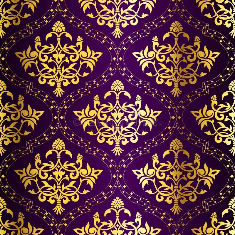 无缝金复杂模式紫色的莎丽服 库存例证