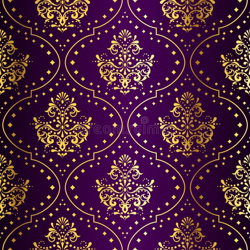 无缝金复杂模式紫色的莎丽服 向量例证