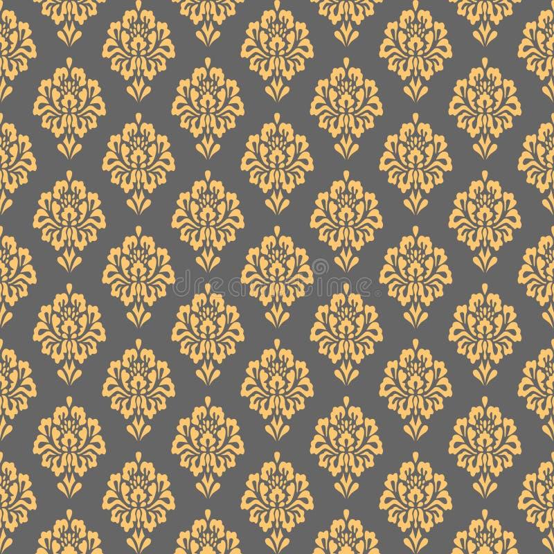 无缝锦缎的模式 花卉重复纹理背景 皇族释放例证