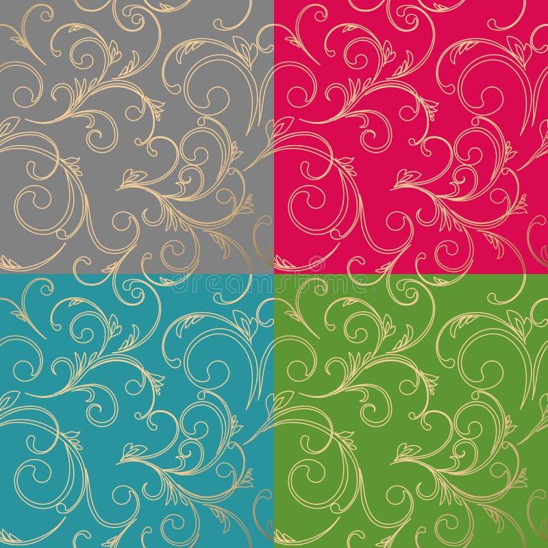 无缝锦缎花卉的模式 皇家墙纸 皇族释放例证